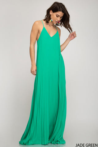 Pleated Maxi Dress - Magenta