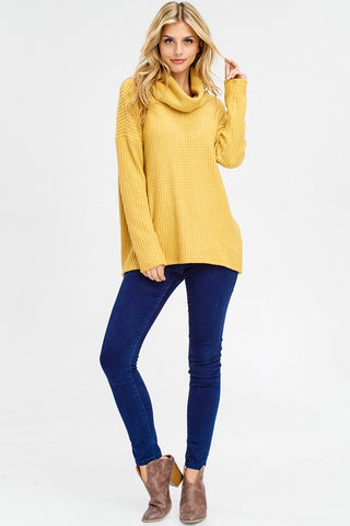 Thermal Cowl Neck Top - Mustard