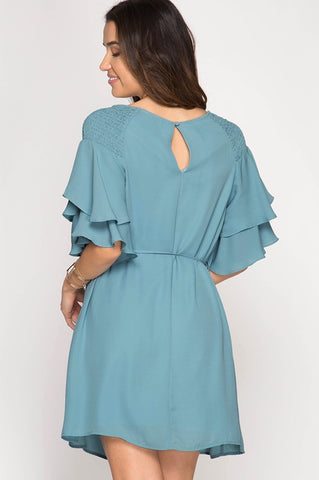 Ruffle Sleeve Dress with Sash