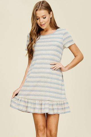 Ruffle Striped Short Sleeve Dress - Beige