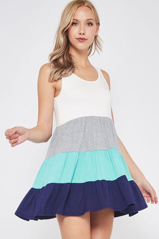 Spring Fling Color Block Tank Dress - Aqua