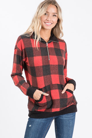 Buffalo Plaid Zip Up Top - Red