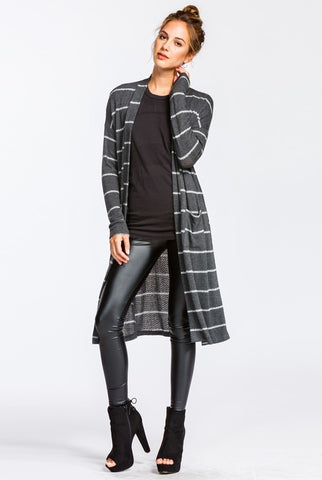 Long Striped Cardigan - Charcoal