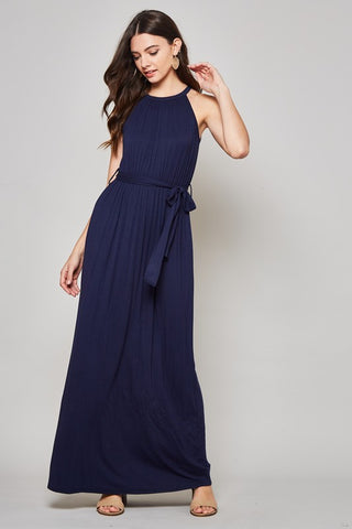 Solid Maxi Dress with Tie Waist - Navy
