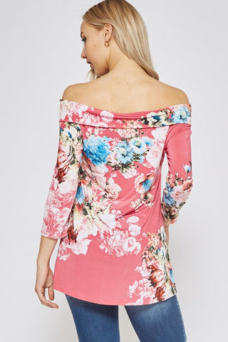 Off Shoulder Floral Top - Hot Pink