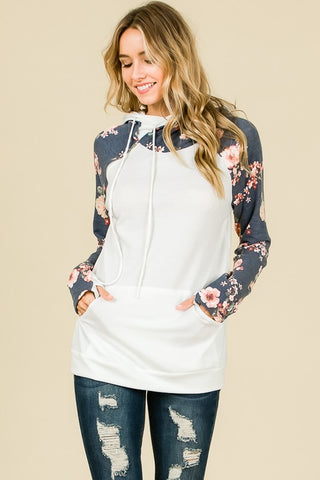 Double Hood Floral Hoodie with Zipper - Navy