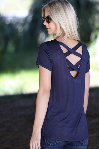 Criss Cross Back Top - Navy
