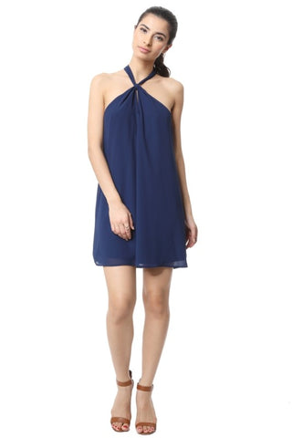 Front Knot Halter Dress - Capri Blue