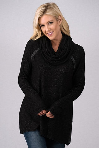Cozy Cowl Neck Top - Black