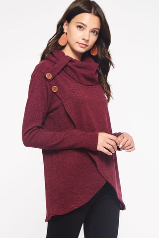 Criss Cross Cowl Neck Top - Burgundy