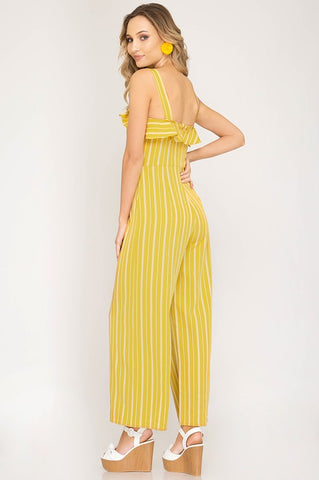 Striped Jumpsuit with Buttons - Honey Mustard