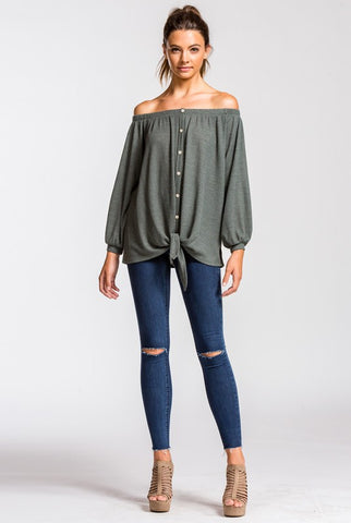 Off Shoulder Button Up Top - Olive