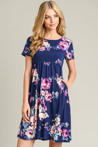 Floral Day Dream Midi Dress - Navy