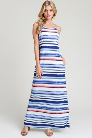 Summer Stripes Maxi Dress  - Blue and Coral