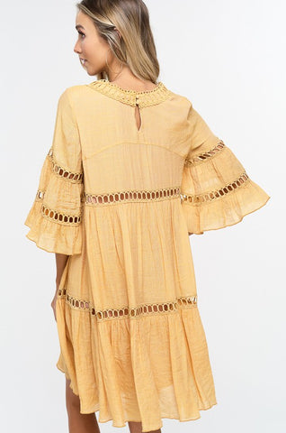 Babydoll Boho Dress - Mustard
