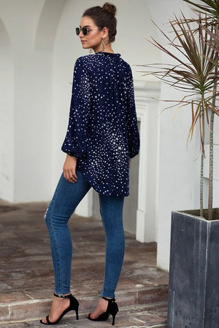 Star Button Down Blouse - Navy