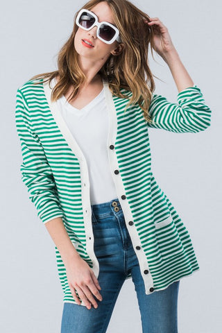 Striped Button Down Cardigan - Green