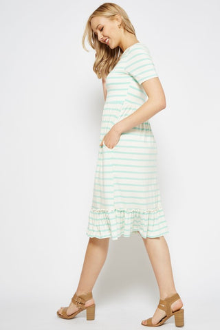 Midi Ruffle Dress - Striped Mint
