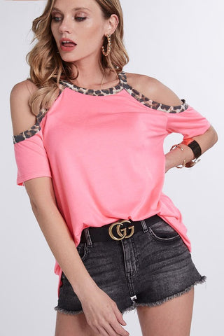 Cold Shoulder Leopard Top - Gray