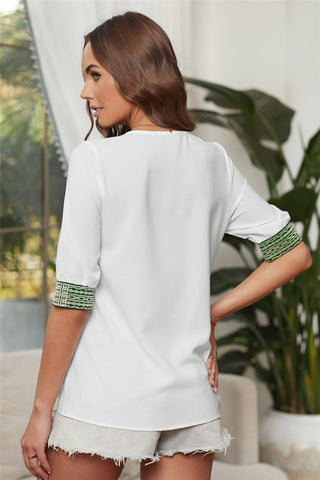 Embroidered V-Neck Top - White