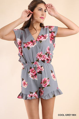 Floral Romper - Cool Grey