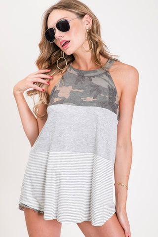 Camo Halter Neck Top - Hot Pink