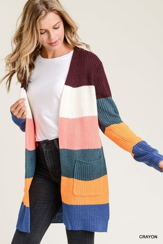 Fall Color Block Cardigan - Crayon