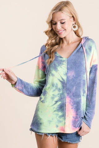 French Terry Tie Dye Hoodie Sweatshirt - Charcoal