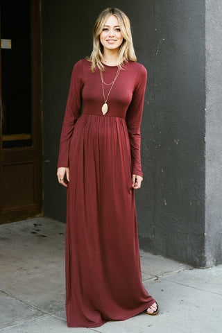 Solid Long Sleeve Maxi Dress - Marsala