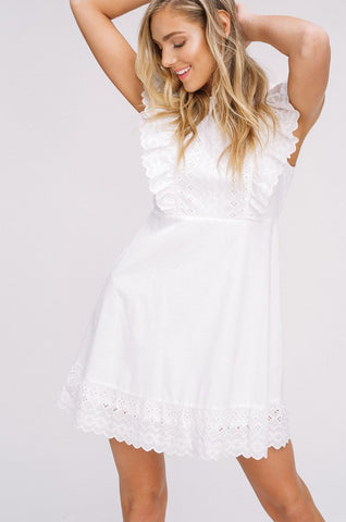 Embroidered Eyelet Dress - White