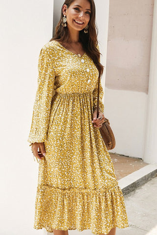 Ruffle Midi Dress - Mustard