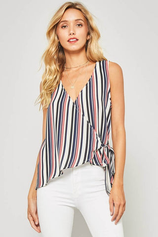 Striped Wrap Top - Mauve