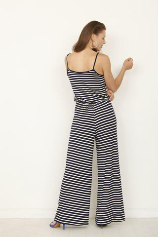 Striped Tank Style Jumpsuit - Navy