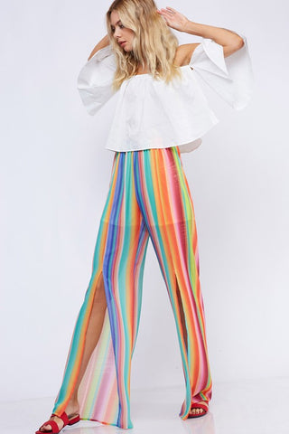 Colorful Striped Women's Palazzo Pants