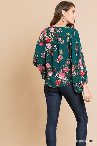 Boho Floral Top - Hunter Green
