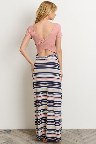 Criss Cross Back Short Sleeve Maxi Dress - Mauve
