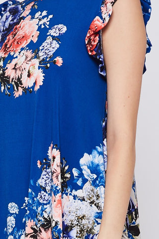 Ruffle Sleeve Sleeveless Floral Tank Top - Royal