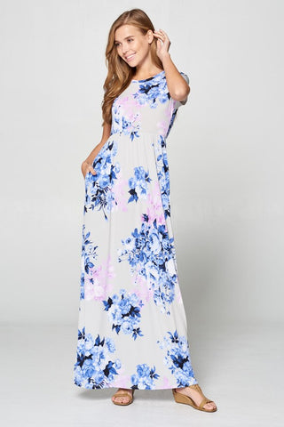 Short Sleeve Spring Floral Maxi Dress - Lavender and Blue