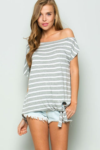 Casual Off Shoulder Striped Tie Top - Heather Gray