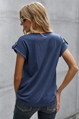 Button Up Short Sleeve Top - Navy