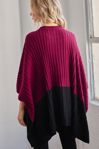 Sweater Poncho with Pockets - Wine and Black
