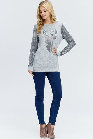 Sequined Reindeer Top - Grey