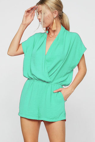 Summer Nights Dolman Sleeve Romper - Green