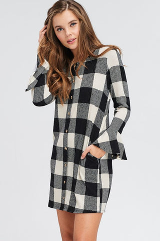 Buffalo Plaid Bell Sleeve Dress - Ivory