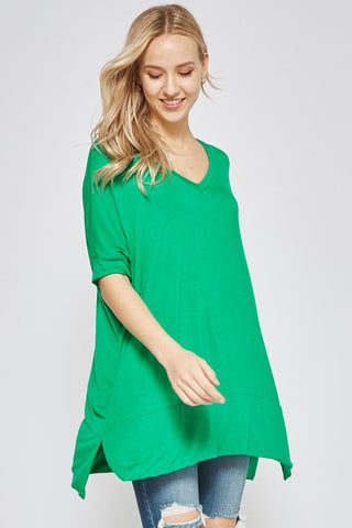 V-Neck Half Sleeve Top - Shamrock
