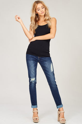Seamless Criss Cross Tank Top - Black