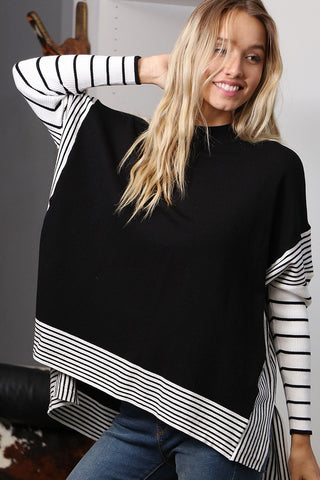 Poncho Sweater Striped Top - Black