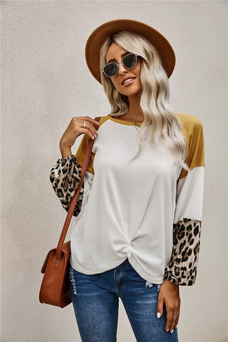 Thermal Color Block Tie Top - Ivory and Mustard