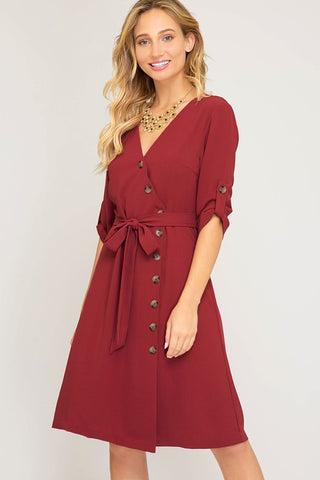 Half Sleeve Asymmetrical Button Front Midi Dress - Brick