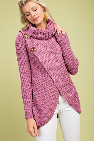 Crisp Fall Air Cowl Neck Sweater - Lavender